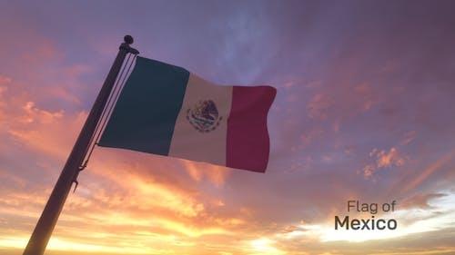 Mexico Flag / Mexican Flag on a Flagpole V3
