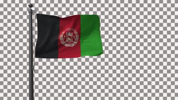 Afghanistan Flag On Flagpole With Alpha Channel 4K