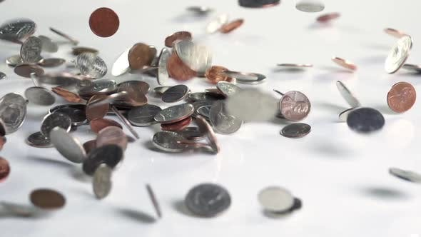 Thumbnail for Money Coins Falling Slow Motion
