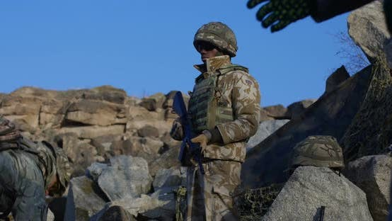 Cover Image for Fully Equipped and Armed African American Soldier
