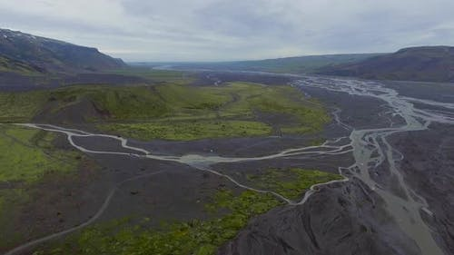 The Landscape of Thorsmork in Highland of Iceland From Drone Aerial View