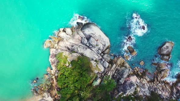 Thumbnail for Wide fly over island view of a sandy white paradise beach and aqua turquoise water background