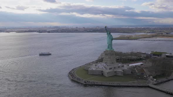 Thumbnail for Statue of Liberty at Cloudy Day. New York City. Aerial View