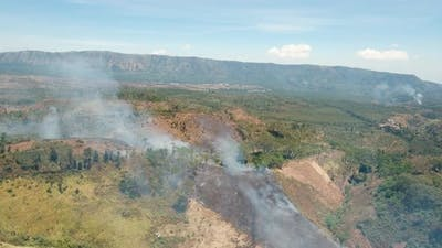Aerial View Forest Fire