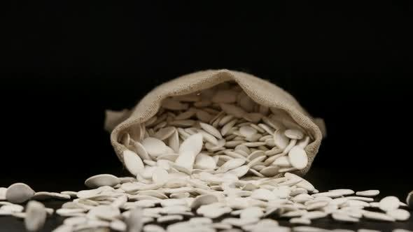 Thumbnail for SLOW MOTION: A Sac With Dried Pumpkin Seeds Fall On A Table
