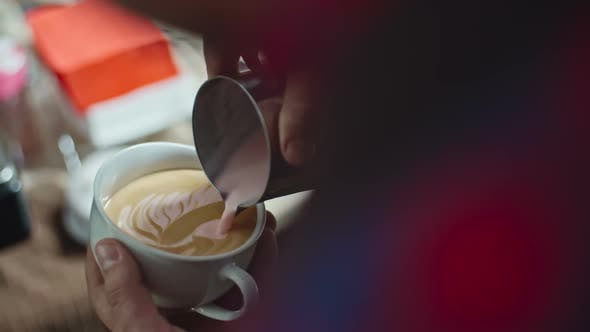 Performing Strawberry Latte Art