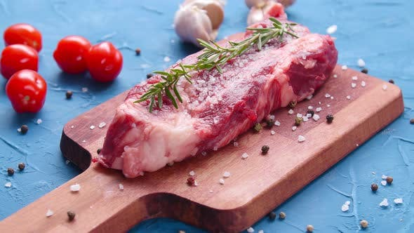 Thumbnail for Raw Fresh Meat Steak with Herbs and Spices on Rustic Background