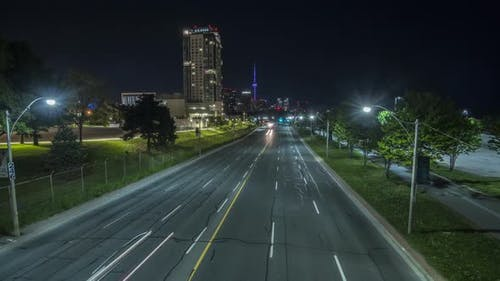 Time Lapse Motion Control Highway And Downtown Toronto With Cn Tower