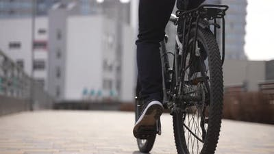 Delivery Man Delivering Order to Client By Bicycle
