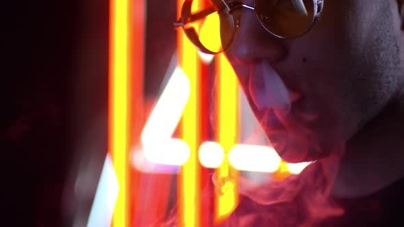Thumbnail for Neon Portrait of Smoking Hipster