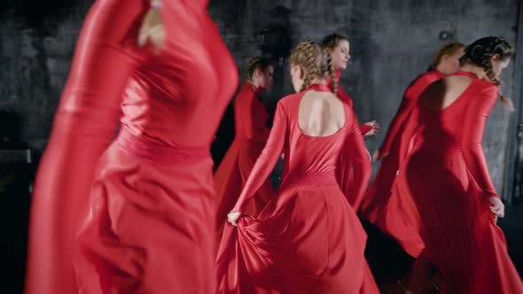 Thumbnail for Many Talented Young Girl in Red Performing a Dance, Passionate Rhythmic Moves
