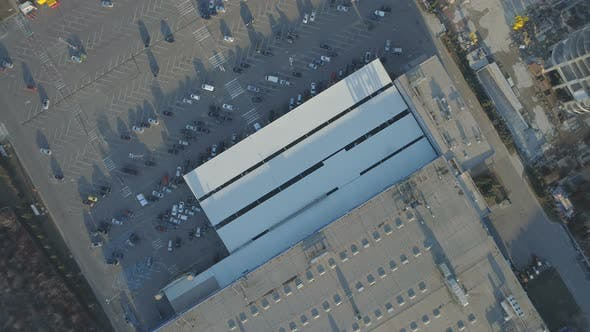 Top View of Building with Big Parking in Front. Cars Parked in Front Office Building