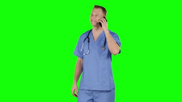 Thumbnail for Doctor Having Call Using Cell Phone. Green Screen
