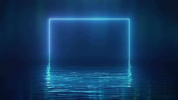 Thumbnail for Shining Blue Neon Square Over Water