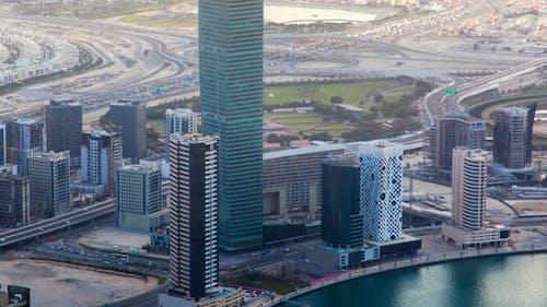 Dubai Aerial Cityscape Panorama with Scyscraper in Center Time-lapse