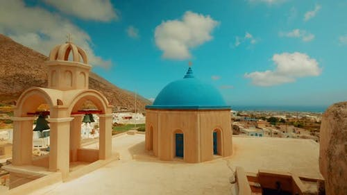 Panoramic Shot of Cycladic Blue Dome Churches