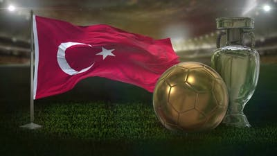 Turkey Flag with Football And Cup Background Loop