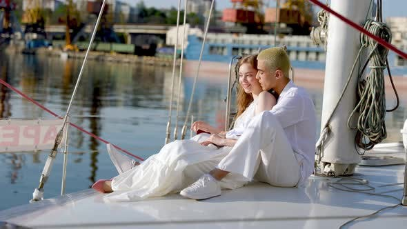 Couple Sitting on a Yacht