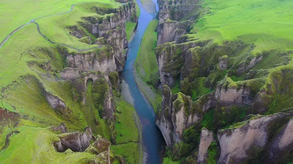 Thumbnail for Iceland. Aerial View on The Canyon and River.
