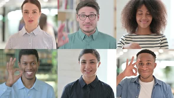 Collage of Multiple Race People Showing Okay Sign