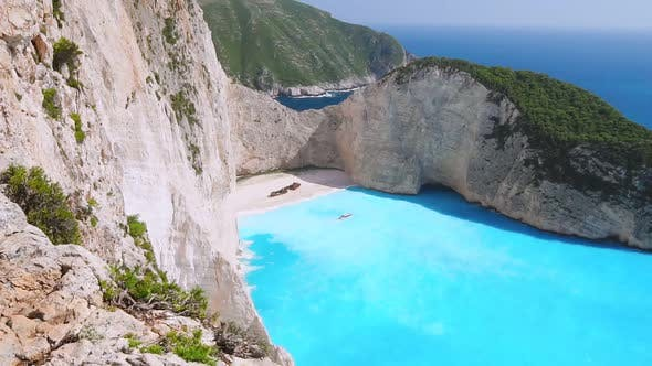 Slow Motion Aerial View of Amazing Turquoise Navagio Beach, Holiday in Paradise, Seascape, Vacation