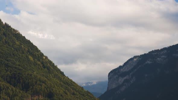 4K Timelapse of Snow-Capped Swiss Alps from Interlaken, Switzerland