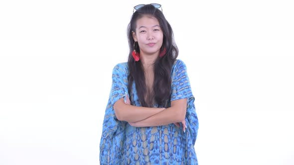 Thumbnail for Happy Beautiful Asian Tourist Woman Smiling with Arms Crossed
