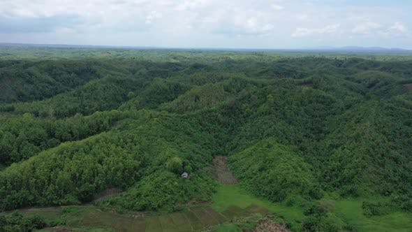 Aerial view of mountain landscape with clouds, Chittagong, Bangladesh.