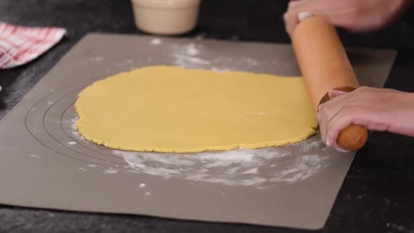Thumbnail for Woman Roll Out the Dough with Rolling Pen, Roll Out the Dough for Pies
