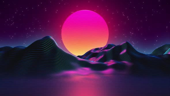 Thumbnail for 80s Synthwave Styled Landscape and Sunset