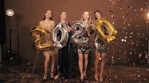 Beautiful Women Celebrating New Year Eve Party