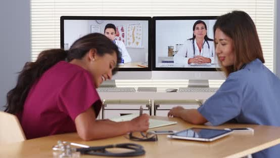 Diverse group of doctors having a video conference
