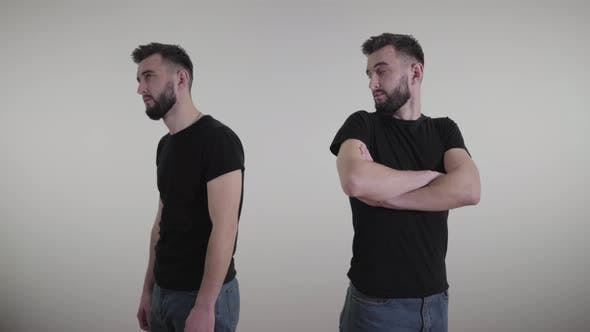 Thumbnail for Double Exposure of Young Handsome Man Feeling Confident and Depressed. Same Brunette Guy Expressing