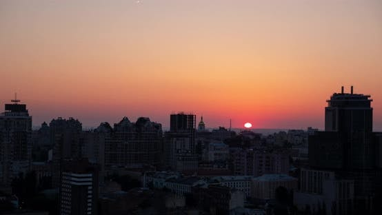 Dawn of the city of Kiev
