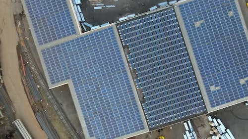 Solar Panels System in the Commercial Building on Roof of Urban Clean Ecological Energy Renewable