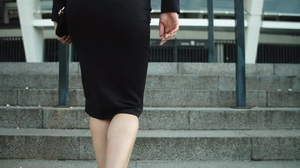Portrait Elegant Woman Legs Going Upstairs in Stylish Shoes Outdoors