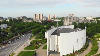 White Church With Cross In Siauliai City, Lithuania