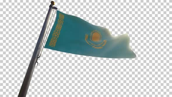 Kazakhstan Flag on a Flagpole with Alpha-Channel
