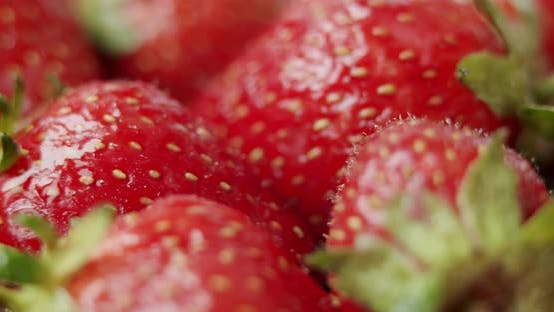 Thumbnail for Fresh Strawberries, Rotating Slowly. Close Up.
