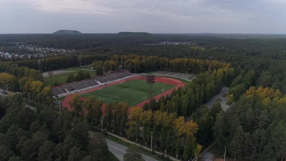 Aerial View of Open-air Sports Facilities in forest near the City 06