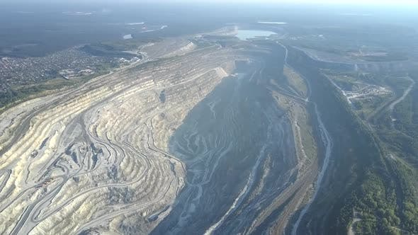 Thumbnail for Aerial View Asbestos Open Cast Mining Quarry By Modern City