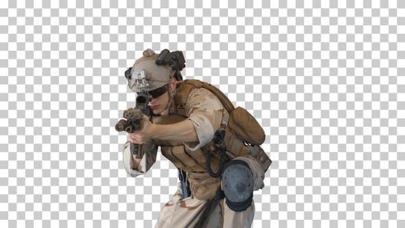 Thumbnail for US military marine shooting from sitting position, Alpha Channel