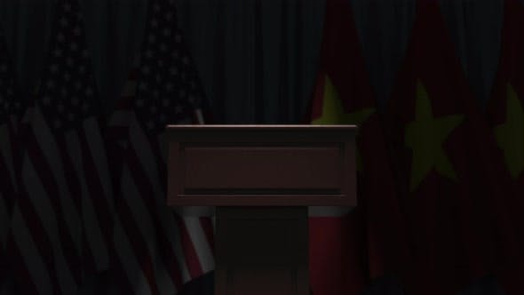 Flags of Vietnam and the USA at International Meeting