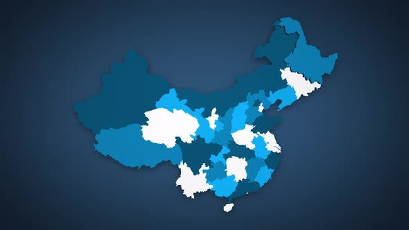 Motion Graphics Animated Map of China Forming - Blue