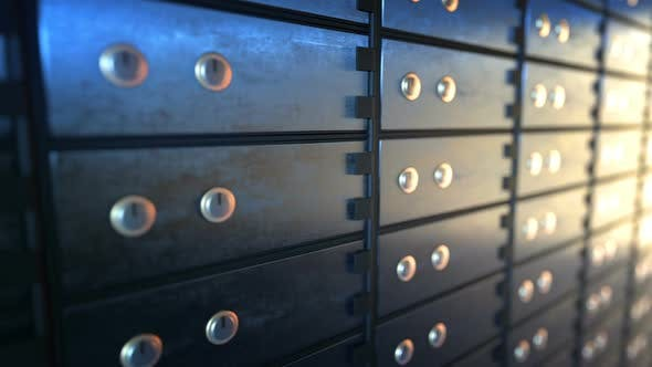 Cover Image for Close Up of Safe Deposit Boxes in a Bank Vault Room