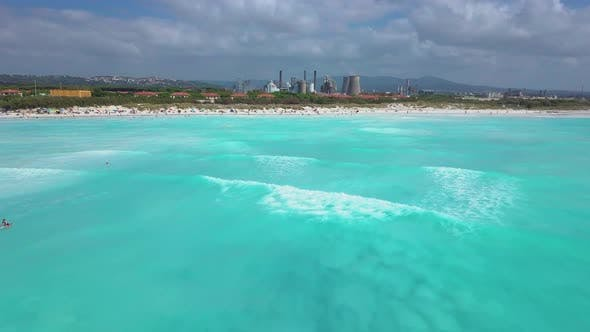 Thumbnail for Aerial Shot, Incredibly Beautiful Calm Sea with Lots of Clouds, White Beach Created Because of Huge