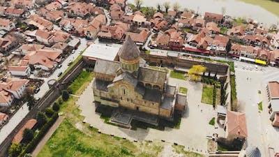 Cinematic Ascending View Svetitskhoveli Cathedral In Mtskheta