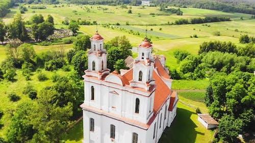Circle Close Up Around Lithuanian Catholic Church