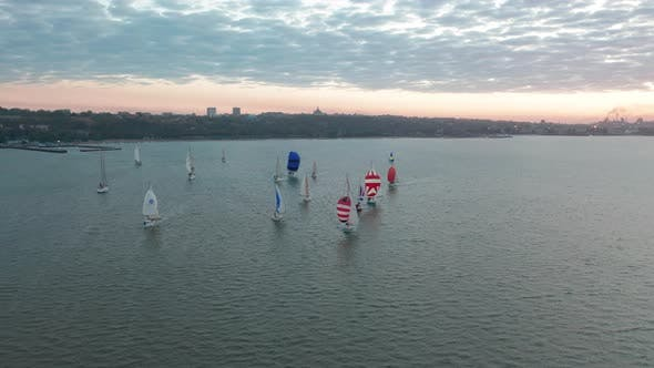 Thumbnail for Top View of Floating Sailing Yachts on Background of City. Competition of Sailing Yachts