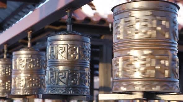 Buddhist Prayer Wheel Inscribed With a Sanskrit Prayer